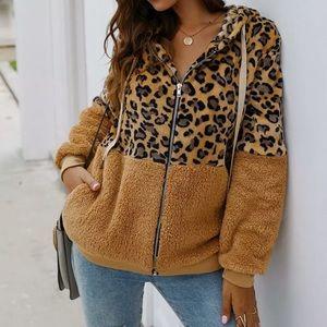 Leopard Sherpa Zip Front Jacket